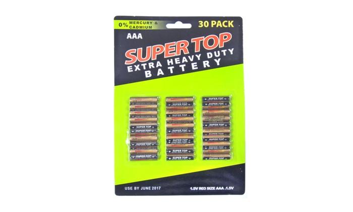 Buy It Now : 30Pc Heavy Duty AAA Battery Per Card w/ (Pack of 2)