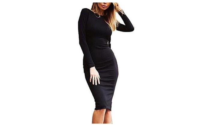 Womens Zippered Back Bodycon Slim Fit Midi Dresses