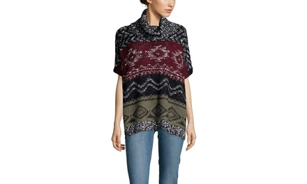 CLICHE Short Sleeve Printed Poncho