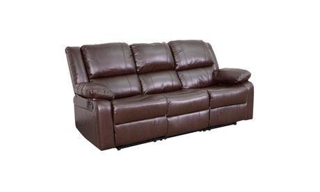 Leather Sofa with Two Built-In Recliners 619c9e2c-c10f-468f-8f7d-9cf302cd313b