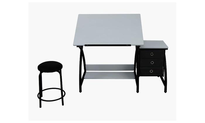 Miraculous Studio Comet Center With Stool Black White Groupon Bralicious Painted Fabric Chair Ideas Braliciousco