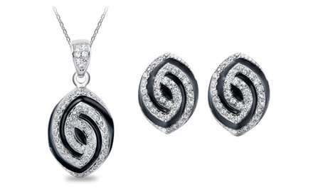 KATGI 18K White Gold Plated Luxury Crystal Angle Eye Necklace and Earrings Set