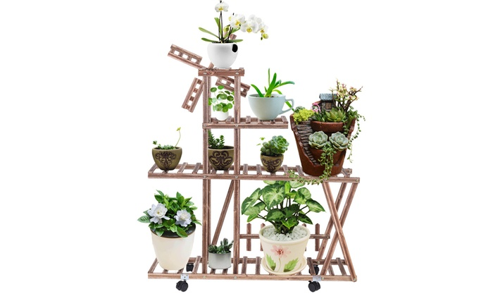 Off On Wooden Rolling Plant Stand Fl