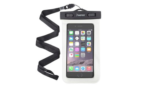 Insten White Waterproof Bag Pouchwith Lanyard for iPhone Samsung