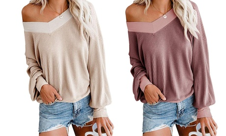 Women V Neck Long Sleeve Waffle Knit Tunic Hollowing Out Off Shoulder Pullover