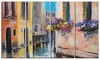 Canal in Venice with Flowers Cityscape Metal Wall Art 48x28 4 Panels
