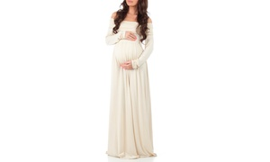 Women's Over-the-Shoulder Maxi Maternity Dress (Size S)