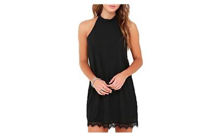Women Casual Sleeveless Halter Neck Patchwork Lace Mini Dress dab741da-136d-40b2-ba91-56d9866930f9
