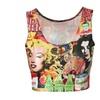 Women's Summer Scoop Neckline Retro Print Short Tank Tops