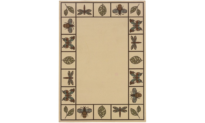 Monarch Aruba Ivory Brown Botanical Area Rug Groupon