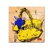 Roderick Stevens Flower Purse Blue on Yellow Canvas Print