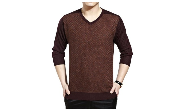 Men's Stylish v Neck Cashmere Affiliate Pullover Sweat