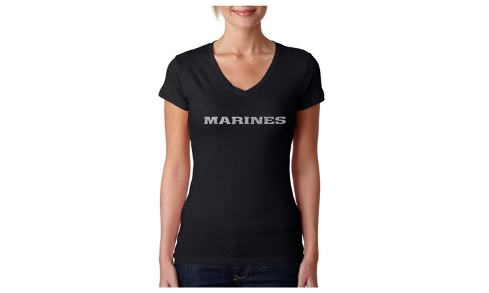 Women's V-Neck T-Shirt - LYRICS TO THE MARINES HYMN