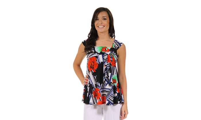 247 Comfort Apparel Women's Red and Black Floral Tie Top