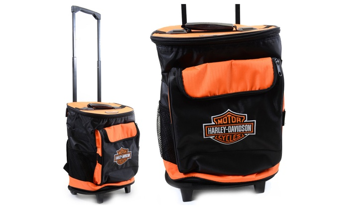 Harley Davidson Orange & Black Detachable Rolling Cooler Backpack ...