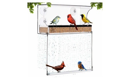 Amazing Window Bird Feeder with Bottom Swing - Acrylic Bird Feeder (Goods Pet Supplies Bird Supplies) photo