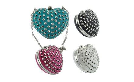 Heart Shaped Studded Clutch Purse Bag