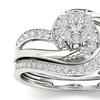 10k White Gold 1/3ct TDW Diamond Cluster Bridal Set (H-I, I2)