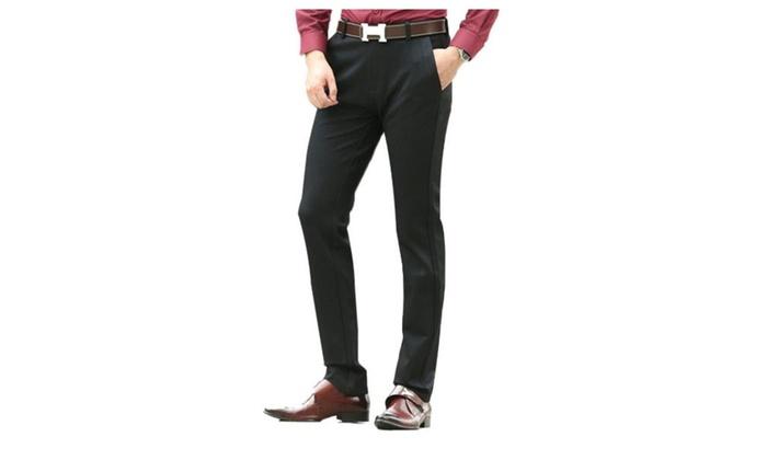 Men's Simple Long Straight ZipUpwithButtonClosure Pants