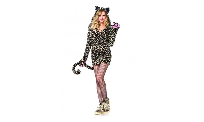Womens Cozy Leopard Adult Halloween Dress Costume