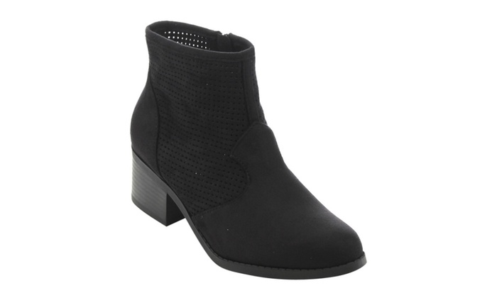 FC64 Women's Perforated Cut Out Low Block Heel Ankle Booties