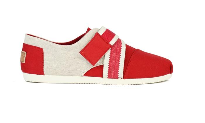 Joy & Mario Women's Red Sport Velcrosport Flat Shoes