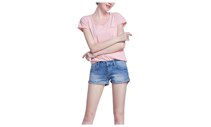 Women's Cosy Stylish Roll Slim Fit Relaxed Denim Shorts