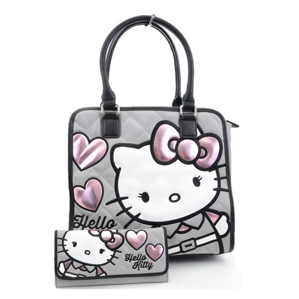 53c260331 Hello Kitty Pink Grey Hearts Quilted Tote Bag and Wallet Set | Groupon