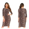 Womens Leopard Print 3/4 Sleeves Midi Bodycon Dress
