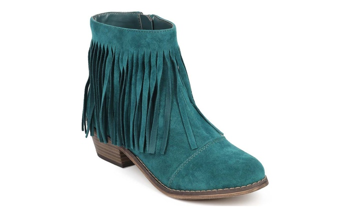 Teal Fringe Round Toe Cowgirl Vegan Suede Ankle Women's Boots