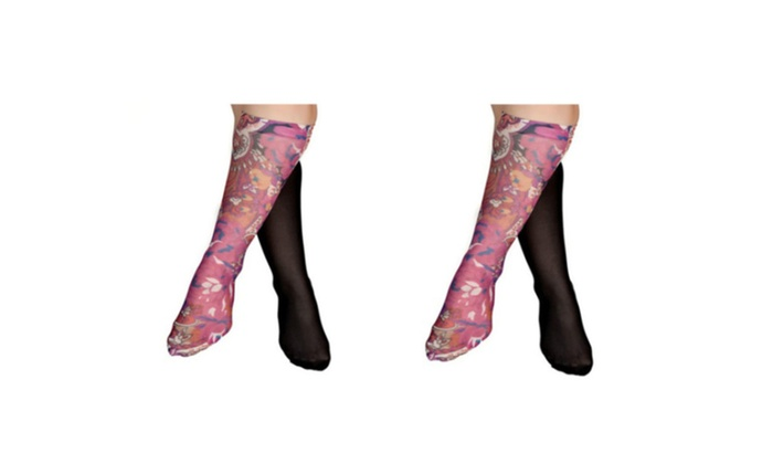 Printed & Fashionable Pink Paisley Compression Sock - 4 Pack