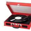 Portable 3-Speed Stereo Turntable with Built-in Speakers red