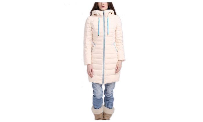 DPN Women's Winter Hoodie Long Sleeve Long All-Around Coat