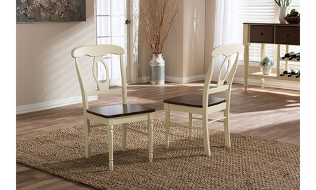 Napoleon Buttermilk and Cherry Brown Wood 2-piece Dining Chair