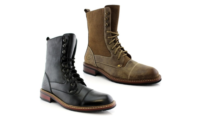 Men's Military Style Lace up Combat Work Calf High Boots 801025