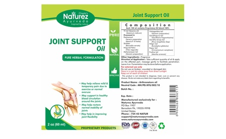 Naturez Ayurveda Joint Pain rubbing Oil -Powerful Pain Relief oil