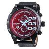 Diesel Men's Double Down DZ4311 Black Leather Quartz Watch