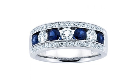 1.50 ct Ladies Blue Sapphire Wedding Band Ring