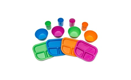 Kids Plates, Bowls, Cups, Dinnerware Set, 12 pieces, Assorted Colors 412fb0ba-83c3-49a7-b138-8a4eea131702