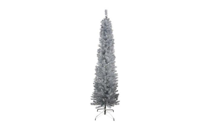 9 pre lit silver artificial tinsel pencil christmas tree - Pre Lit Pencil Christmas Trees
