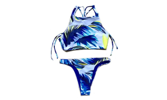 Women's Blue Halter High Neck Feather Printed Bikini Sets