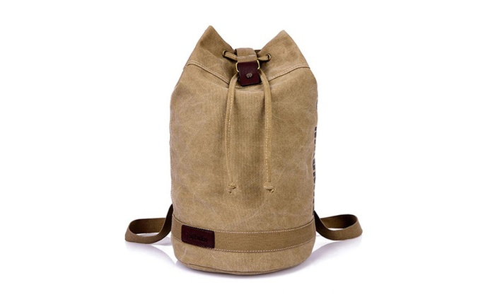 Men's Canvas Drawstring Duffle Bag | Groupon