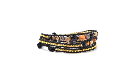 "The Gold Rush- 23"" Gold And Earthy Colors Beaded Black Leather Wrap 174d992e-488d-4194-82d8-97b5664f1dea"