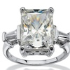 11.93 TCW CZ Platinum over Silver Bridal Ring