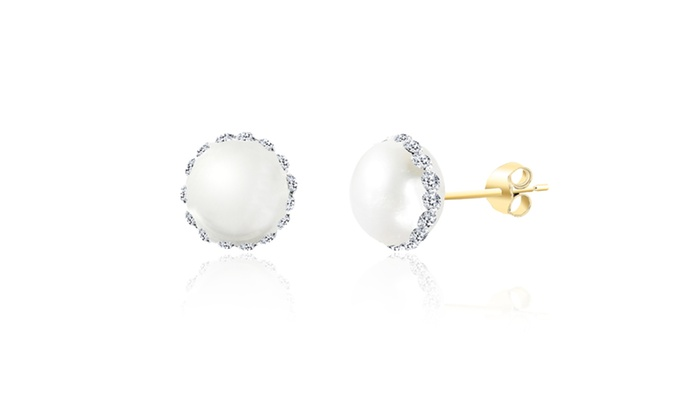 3666cee48 10K Gold Round Pearl Crystal Stripe Post Earring | Groupon