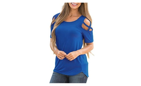 Womens Loose Strappy Cold Shoulder Tops Basic T Shirts beda5210-344f-414f-8aba-fecb8c3484bc