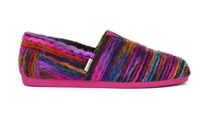 Joy & Mario Women Purple Color Stripe Espadrille Flat Shoes
