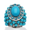 Oval and Round Turquoise and Crystal Accent Silvertone Stretch Ring