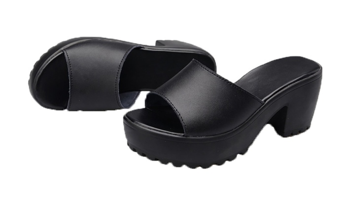 Women's Autumn Leather Platform Sandals Slippers