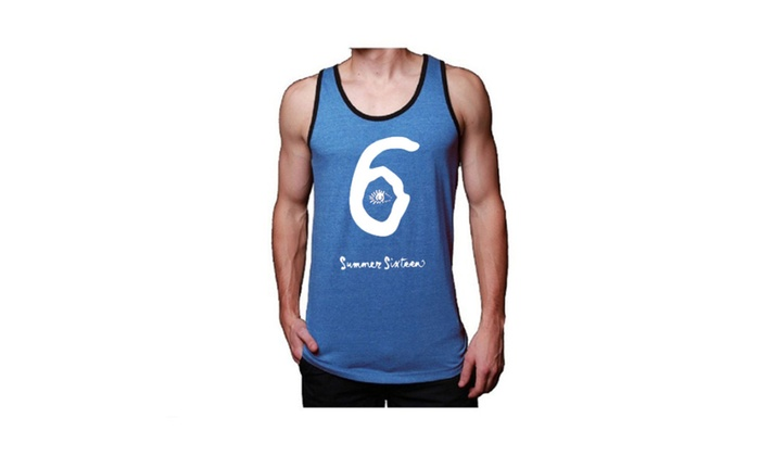 Mens Soft Jersey Summer 6 Blue Tank Top